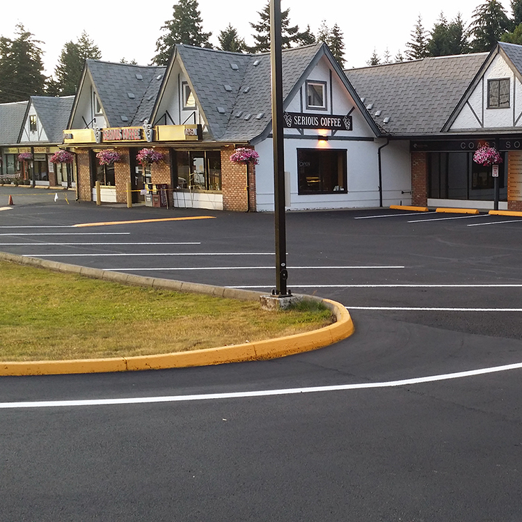 Freshly painted lines in an asphalt parking lot in Parksville, BC